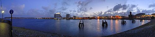Panoramic of Cardiff Bay at dusk, Cardiff, Wales, UK, Europe