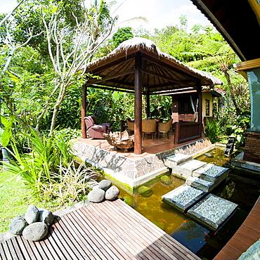 Outdoor area at luxury accommodation near Ubud on the island of Bali, Indonesia, Southeast Asia, Asia