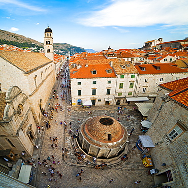 Big Onforio Fountain, Franciscan Monastery and City Bell Tower on Stradun from Dubrovnik City Walls, UNESCO World Heritage Site, Dubrovnik, Dalmatian Coast, Croatia, Europe