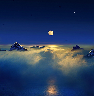 Moonrise above mountain peaks in a sea of clouds, Spitzbergen, Norway, Europe