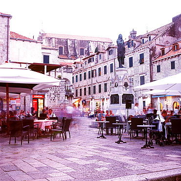 Tourists sitting in pavement cafes, Dubrovnik, Dalmatia, Croatia