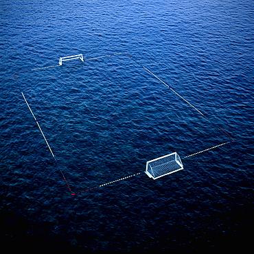 Goal and floats on surface of water in Adriatic Sea, Dubrovnik, Dalmatia, Croatia