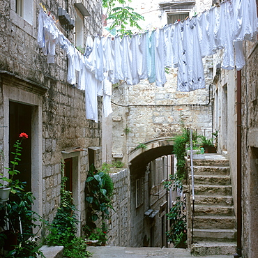 Washing on a line above a lane, Dubrovnik, Dalmatia, Croatia