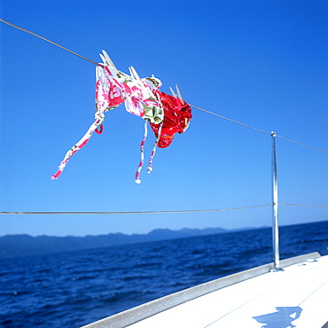 Bikinis on a rope of a sailboat, Adriatic Sea, Dalmatia, Croatia