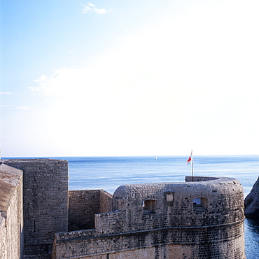 City wall with watch tower, Dubrovnik, Dalmatia, Croatia