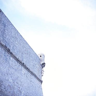 Part of the city wall with patron saint St. Blaise, Dubrovnik, Dalmatia, Croatia