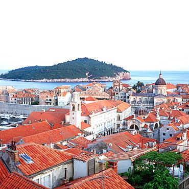 View over Dubrovnik's roofes to Lokrum island, Dubrovnik, Dalmatia, Croatia