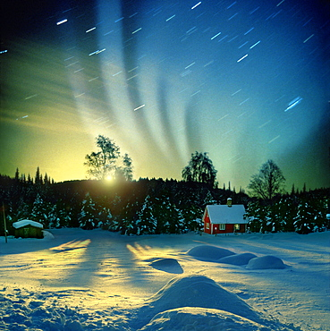 Polar light and moonrise, Lillehammer, Norway