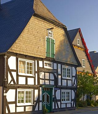 Outdoor photography, Morning, Half-timbered house in Winterberg, Rothaargebirge, Rothaarsteig, Hochsauerland, North Rhine-Westfalia, Germany, Europe