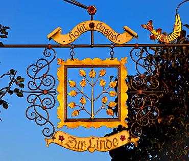 Sign of the Zur Linde Hotel, Fraueninsel, Chiemsee, Chiemgau, Upper Bavaria, Bavaria, Germany