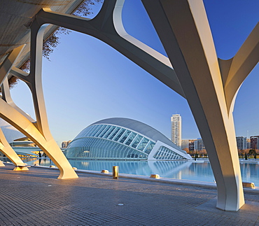 The IMAX cinema L'Hemispheric in the evening, Ciudad de las Artes y de las Ciencias, Valencia, Spain, Europe
