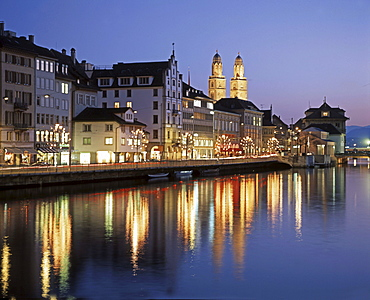 Zuerich in the evening, Switzerland