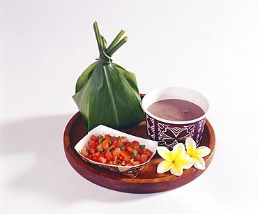 Studio shot of traditional Hawaiian Luau food.