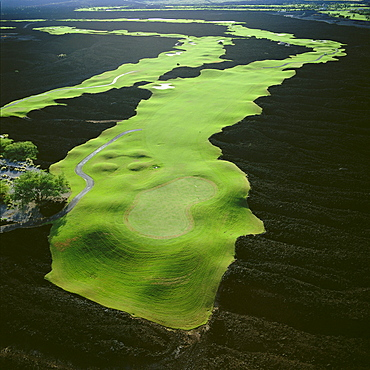 Hawaii, Big Island, Francis I'i Brown Golf Course, South Course, 6th and 8th hole, black lava, aerial