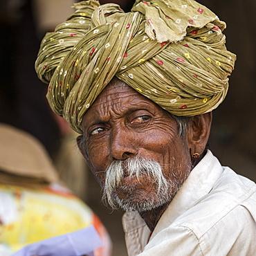 Portrait of a senior Indian man in a turban, Jaisalmer Fort, Jaisalmer, Rajasthan, India
