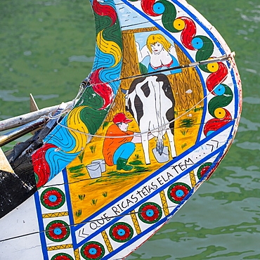 Colorful hand painted prow of a Gondola like Moliceiro, Aveiro, Beira, Portugal