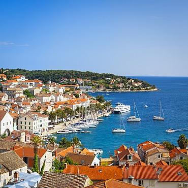 Elevated view over Hvar's picturesque harbour, Stari Grad (Old Town), Hvar, Dalmatia, Croatia, Europe - 1158-471