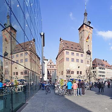 Town Hall, Grafeneckart Tower, Vierroehrenbrunnen fountain, Wurzburg, Franconia, Bavaria, Germany, Europe