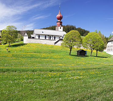 Wehrkirche church, Urach, Urachtal Valley in spring, Black Forest, Baden Wurttemberg, Germany, Europe