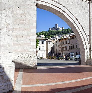 View from Santa Chiara Basilica to Rocca Maggiore Fortress, Assisi, Perugia District, Umbria, Italy, Europe