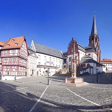Stiftsplatz Square with Stiftsmuseum, Stiftsbrunnen fountain and Stiftskirche Church of St. Peter and Alexander, Aschaffenburg, Lower Franconia, Bavaria, Germany, Europe