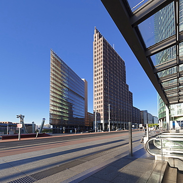 Potsdamer Platz Square with Kollhoff Turm Tower, Berlin Mitte, Berlin, Germany, Europe
