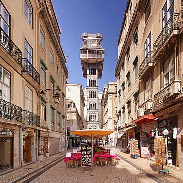 Elevador de Santa Justa (Santa Justa Elevator), Baixa, Lisbon, Portugal, Europe