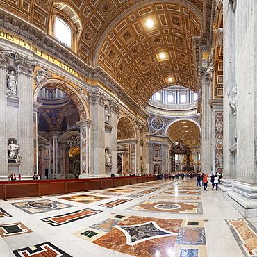 Interior, St. Peter's Basilica (Basilica di San Pietro), UNESCO World Heritage Site, Vatican City, Rome, Lazio, Italy, Europe