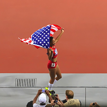 Allyson Felix, United States, celebrates with flag after winning Women's 200m, Stadium, London 2012, Olympic Games, London, England, United Kingdom, Europe