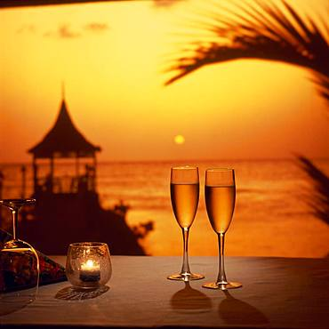 Champagne and setting sun