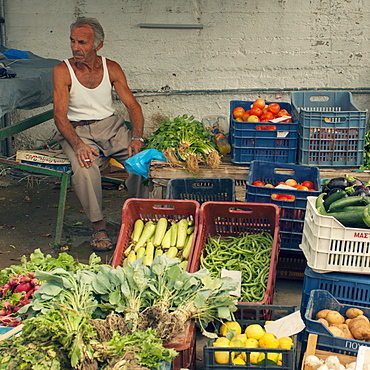 Vegetable market, Corfu, Greece, Europe