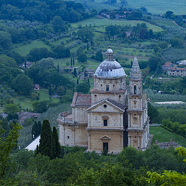 The Renaissance church of San Biagio nestled in the countryside close to Montepulciano in the province of Siena, Tuscany, Italy, Europe