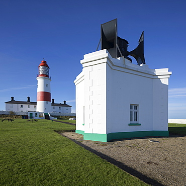 Souter Lighthouse and Foghorn at Lizard Point on the north east coast, Whitburn, Sunderland, South Shields, Tyne and Wear, England, United Kingdom, Europe
