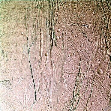 Icy Surface of Enceladus, Moon of Saturn