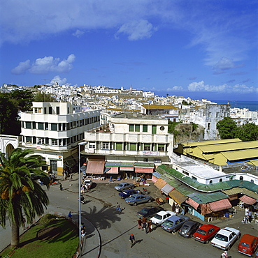 Rooftop view of city and Grand Socco, Tangier, Morocco, North Africa, Africa