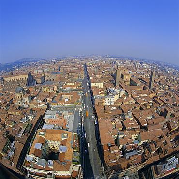 Aerial view of the city, Bologna, Emilia-Romagna, Italy, Europe