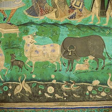 Wall paintings, Bundi Palace, Bundi, Rajasthan, India, Asia
