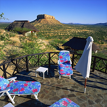 Pool terrace of the Vingerklip Safari Lodge, Damaraland, Namibia, Africa
