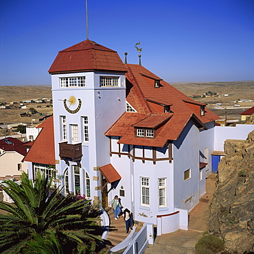 Colonial German architecture, Goerkehaus (Goerke House), now owned by Consolidated Diamond Mines, Luderitz, Namibia, Africa