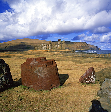 Fallen topknot in foreground, Ahu Tongariki, Rapa Nui National Park, Easter Island, Chile, South America