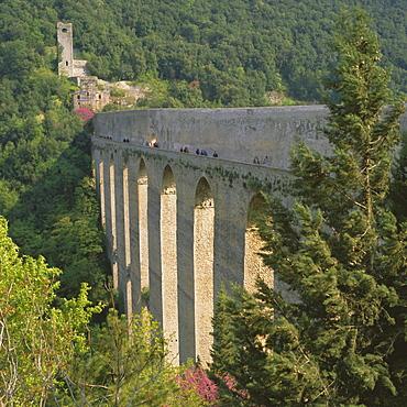 Medieval bridge and aqueduct, Ponte delle Torri, Spoleto, Umbria, Italy, Europe