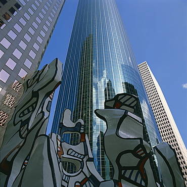 Miro sculpture with skyscrapers in the background, in Houston, Texas, United States of America, North America