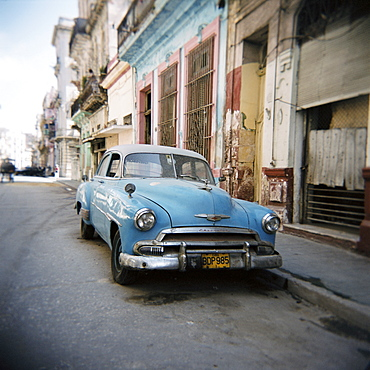 Old blue American car, Cienfugeos, Cuba, West Indies, Central America