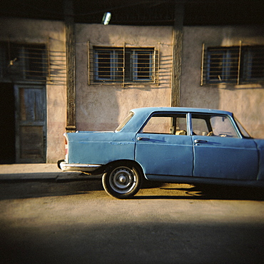 Old blue Soviet car, Havana, Cuba, West Indies, Central America