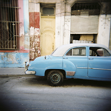 Old blue car, Cienfuegos, Cuba, West Indies, Central America