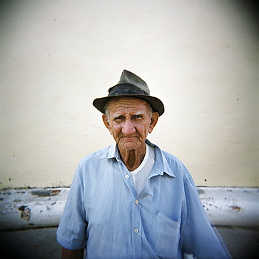 Portrait of an old man, Trinidad, Cuba, West Indies, Central America