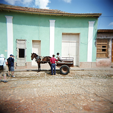 Two men with horse and cart, Trinidad, Cuba, West Indies, Central America