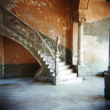 Ornate marble staircase in apartment building, Havana, Cuba, West Indies, Central America