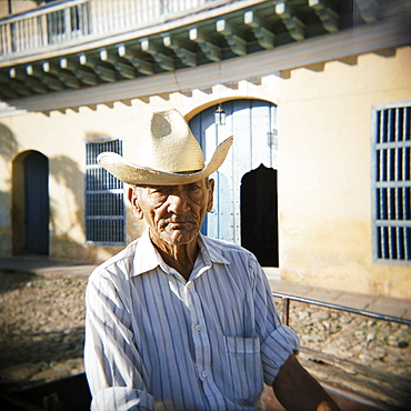 Portrait of an elderly cowboy, Trinidad, Cuba, West Indies, Central America