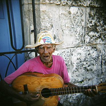 Portrait of an elderly musician, Havana, Cuba, West Indies, Central America
